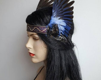 Unique and original winged headband, real taxidermy bird wings, rosella parrot wings, fascinator, headdress, valkyrie, festival, party