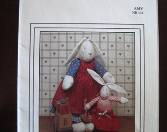 """6"""" and 13"""" Plush Bunnies – The Cornell Collection Vintage Sewing Pattern NB-113 – Country Décor"""