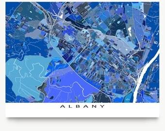 Albany Map, Albany NY City Map Art, New York USA