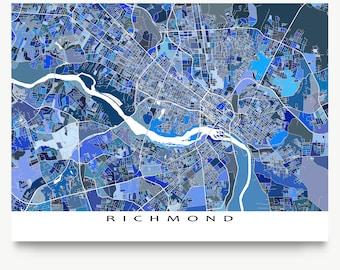 Richmond Virginia, Richmond Map Print, Richmond VA USA Cityscape