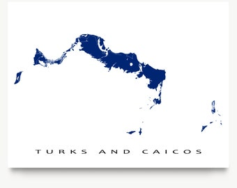 Turks and Caicos Map Print, Turks and Caicos Islands, Caribbean Map Art