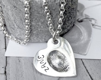 ACTUAL Fingerprint - Personalized - fingerprint Jewelry - Womens Necklace - memorial jewelry - bereavement - silver necklace - sympathy
