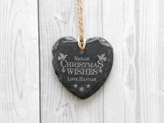 Personalised Christmas Heart Slate Sign - Christmas Decoration - Any Engraved Message