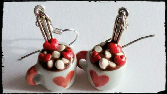 Valentine's Day Cup of Hot Chocolate Candy Earrings - Miniature Food Jewelry - Hot Cocoa Earrings, Inedible Jewelry, Valentine's Day Jewelry