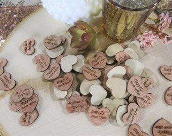 "100 ""Happily Ever After"" Hearts ~ 1"" Wood Hearts ~ Wedding Decor ~ Wedding Confetti ~ Wooden Confetti"