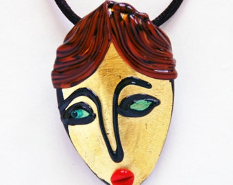 Murano Glass Gold Face Pendant Necklace 24 K Gold Leaf