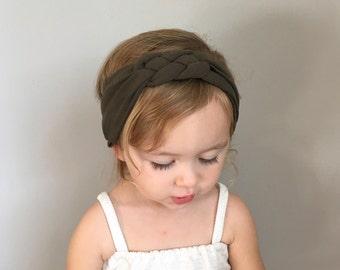 Sailor Knot Headband in dark OLIVE GREEN - Baby/Toddler Sailor Knot