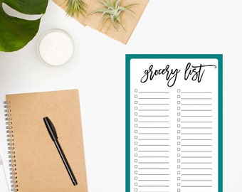 Grocery List Notepad • Grocery List • Meal Planning • Menu • Turquoise Notepad • Checklist