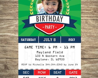 Soccer Ticket Invitation with photo. Soccer Themed Birthday Party.