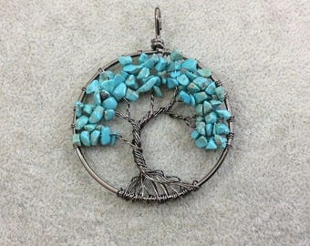 "2"" (50mm) Gunmetal Plated Copper Wire Wrapped Tree of Life Focal Pendant with Turquoise Howlite Chip Beads - Sold Individually/Random"