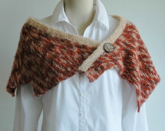 Wool mohair shawl / short poncho / autumn colours / fall colours / lightweight wool / Tunisian crochet