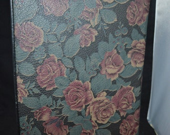 Floral portfolio / black / pink / women's portfolio / black portfolio / pad / calculator / meetings / notes / business portfolio / leather