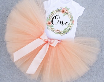 First Birthday Outfit, 1st Birthday Outfit, One Birthday Outfit, First Birthday Set, Peach extra full skirt and one shirt, Birthday Set