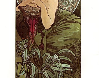 "Alphonse MUCHA 1976 Authentic Vintage Art Nouveau PRINT ""Emeraude"""