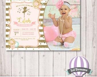 Ballerina Birthday Invitation, Princess Birthday, Pink, Gold, Glitter, Photo, First Birthday, 1st Birthday, Printable, Digital, Tutu, PDF