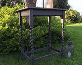 Antique Vintage Black Hand Painted Side Table Hall Table FREE DELIVERY Barley Twist Legs