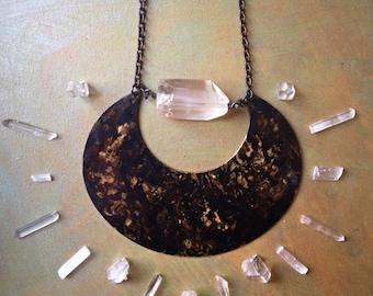 Luna - Large Brass Crescent & Quartz Bib Necklace