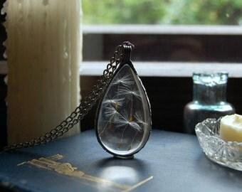 Large DANDELION terrarium drop, wish necklace, make a wish, terrarium pendant, terrarium jewelry, natural gift dandelion jewelry. botanical