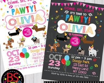 Dog Birthday Invitation , Dog Birthday Party , Puppy Birthday Party Invitation, Puppy party invite