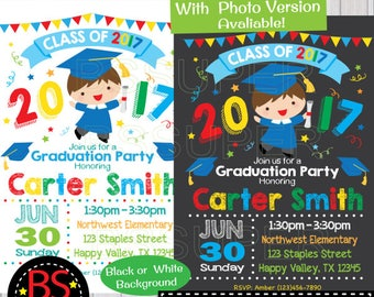 Graduation Invitation, Kindergarten Graduation invite, Preschool Graduation Announcement, Pre K , Elementary, High School