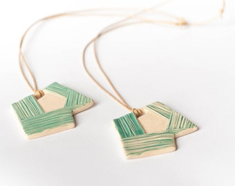 Turquoise GEOMETRIC MODERN ceramic NECKLACE, Ceramic jewellery, Geometric pendant, Large statement jewellery, Christmas gift for her, Lines