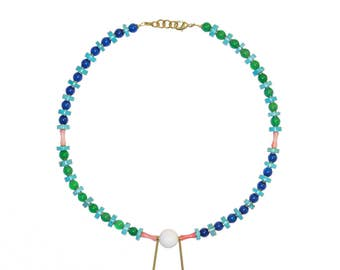 Gemstone necklace with agate, turquoise, and coral - CHO