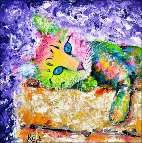 "Cat Print ""Tabby on a Box"", Cat Wall Art with Colorful Tabby Cat and Purple Background, Colorful Cat Art, Cat Lover Gift, Cat Lady Gift."