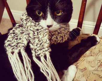 Cat Fringe Scarf // handmade scarf with fringe for cats