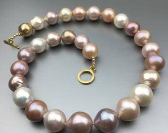 Ming-like Multicolor Pearl Necklace 23