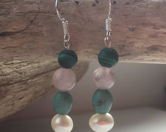 Handmade Sterling Silver, Fresh Water Pearls, Turquoise,  Clear Quartz and Malachite Drop Earrings