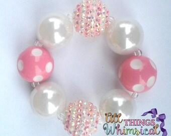 Pink and White Chunky Bubblegum Bracelet