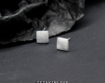 Sterling Silver Geometry Tiny Square Earring | Geometry Jewelry I Personalized Gift