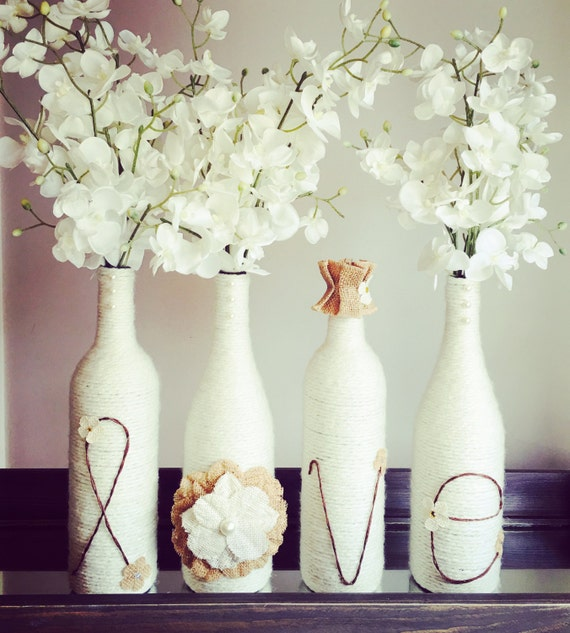 Love hope home wine bottle decor bridal shower gift for How to decorate a wine bottle for a gift