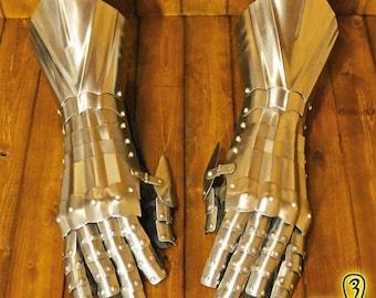 Larp armor gauntlets German Gothic Steel