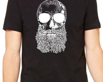 Skull Beard - Beer T Shirt - Boyfriend gift - College nerdy party - Beer shirt Hop beard -IPA -  Home craft microbrew Indie