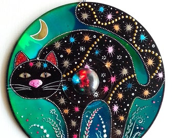 Cat Decoration, hand painted CD, black cat decor, witch cat, nursery decor, cat ornament, fireworks, upcycling, cat in the night, magic cat