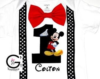 Polka Dot Mickey Mouse Disney Cake Smash Birthday Outfit baby boys Toddler Photo Prop Bow Tie Shirt Onesie