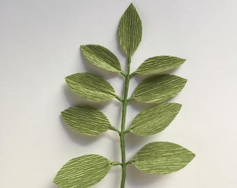 Crepe Paper Leaf Sprig, Single Stem, Greenery, Leaves, Home Decor, Wedding