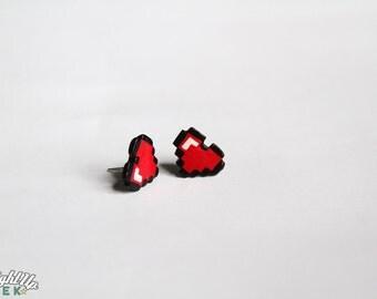 Pixel Heart Earrings Nerd Couples Geek Gift 8 Bit