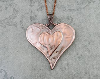 Heart Necklace LARGE Copper Heart Jewelry Statement Necklace Girlfriend Necklace Heart Charm Necklace Heart Pendant Necklace Wife GIft