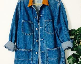 Vintage Lee chore coat vintage denim coat vintage chore coat denim chore coat long denim coat jean coat M jean jacket mens small chore coat