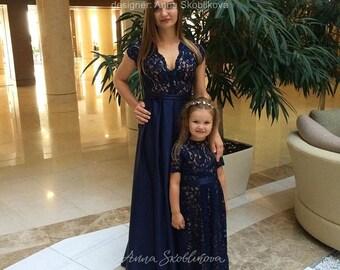 Mom daughter dress, Evening dress, Long Blue evening dress, Mother of the bride dress, Blue bridesmaid dress, 0041 // 2015