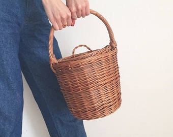 Jane Birkin Style Basket, Birkin Basket M, Round Wicker Basket with Lid, Small Round Willow Basket, Round Basket, Basket Purse,Basket Bag