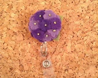 Flower Badge Reel | Mixed Purples ID Badge Reel |  708