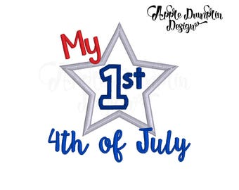 My 1st 4th of July Applique Design, Machine Embroidery Design, Babys First, Star, Fireworks, Independence Day, Holiday, 4x4, 5x7, 6x10