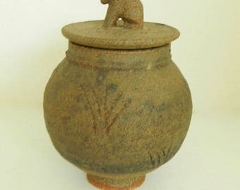 Ian Godfrey, Studio Pottery, Small Lidded Stoneware Pot, Fine Art Ceramic