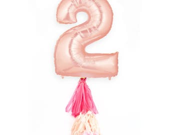 """40"""" Rose Gold Number 2 Balloon, Giant Rose Gold Balloon, Rose Gold Party Decor 2nd Birthday Party Balloon 40 inch Balloon Glitter Balloon"""