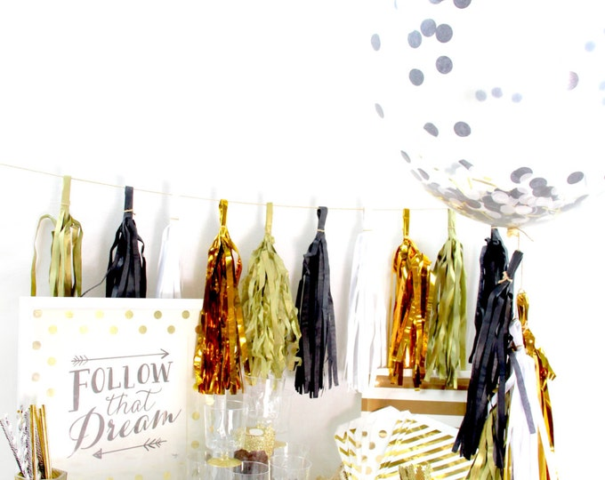 Midnight Glam 9+ Person Party Box, Black White Gold Glitter Party Package, First Birthday Decor, Black Gold Glitter Party In a Box