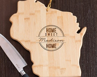 Wisconsin State Shaped Cutting Board, Engraved Wisconsin Shaped Cutting Board