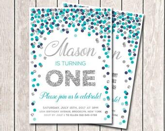 1st Birthday Invitations Boy Birthday Invitations Printable Teal Navy Silver Confetti Party Teal Gray Navy Invites Any Age